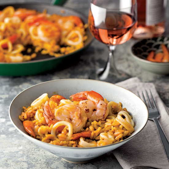 Smoky Paella with Shrimp and Squid