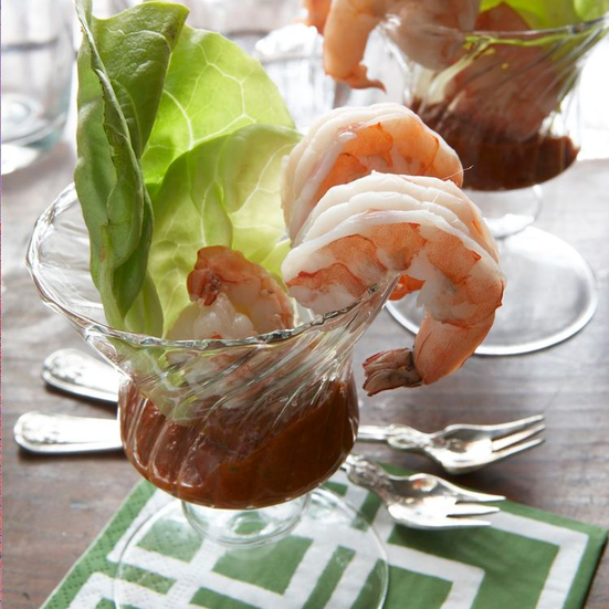 Vermouth-Poached Shrimp with Ginger Remoulade