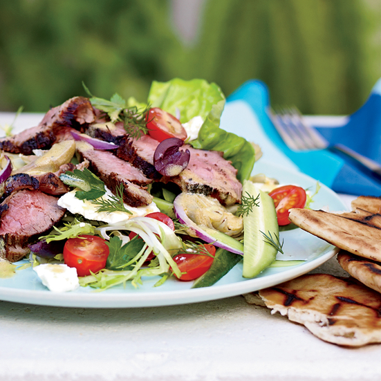 Warm Lamb Salad with Fresh Herbs, Feta and Artichokes