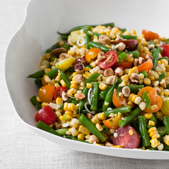 Sweet Corn Salad with Green Beans and Hazelnuts