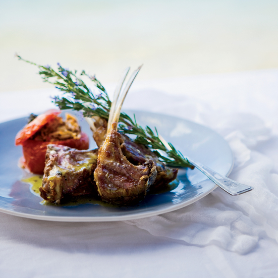 Grilled Lamb Chops with Ladolmono