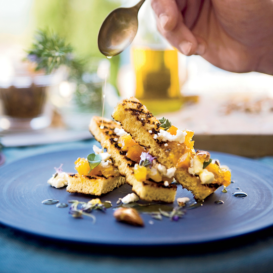 Orange Spoon Fruit with Feta and Spiced Almonds