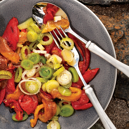 Roasted Peppers with Leeks