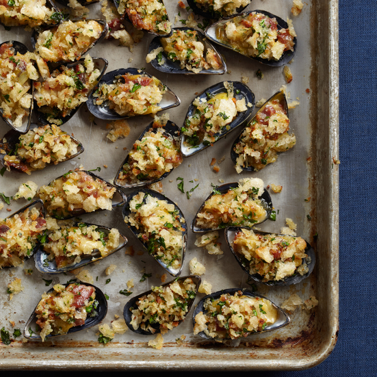 Creamed Mussels on the Half Shell