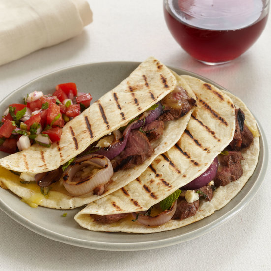 Grilled Lamb and Red Onion Tacos with Tomato-Mint Salsa
