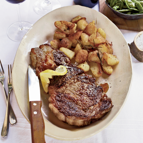 Grilled Rib-Eye Steaks with Roasted Rosemary Potatoes