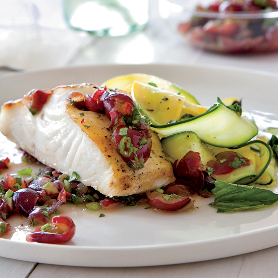 Pan-Seared Black Cod with Grape Salsa