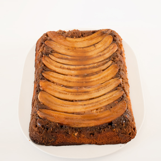 Chocolate-Peanut-Butter-Banana Upside-Down Cake