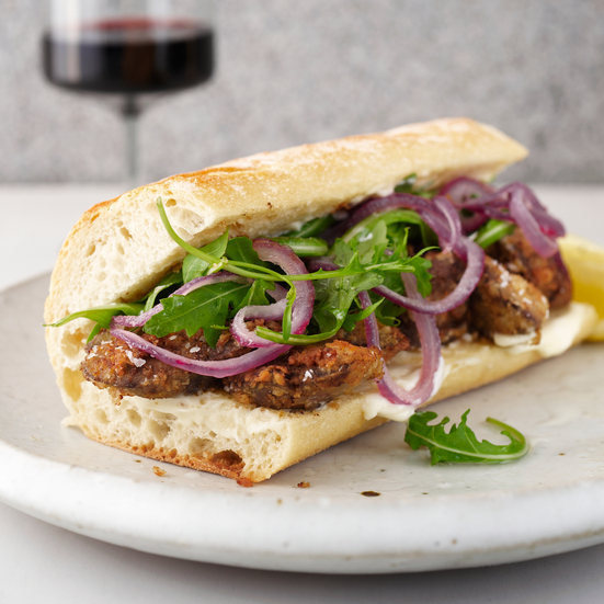 Fried-Chicken-Liver and Sautéed-Onion Po' Boy
