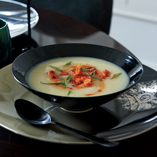 Potato Soup with Spicy Shrimp. Photo © Petrina Tinslay