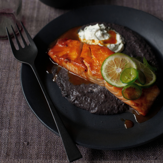 Ancho-and-Honey-Glazed Salmon with Black Bean Sauce and Jalapeño Crema