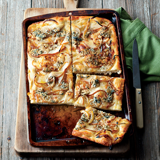 Focaccia with Caramelized Onions, Pear and Blue Cheese Recipe - Jill ...