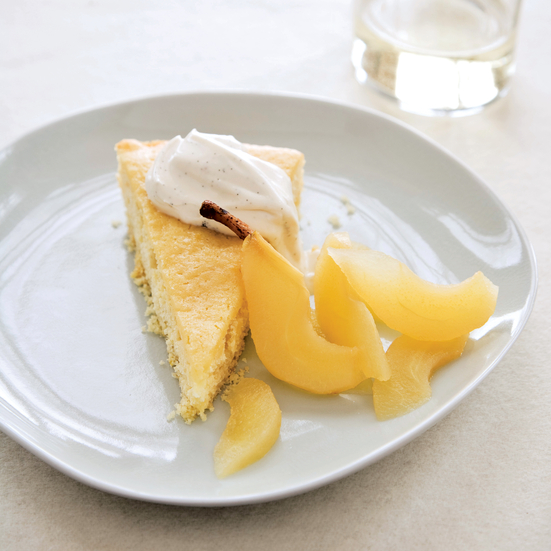 Buttermilk Cake with Riesling-Poached Pears. Photo © Michael Turek
