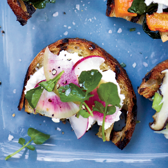 Feta-and-Radish Toasts. Photo © John Kernick