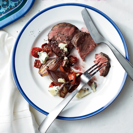 Beef Tenderloin with Tomatoes, Shallots and Maytag Blue. Photo © Anna Williams