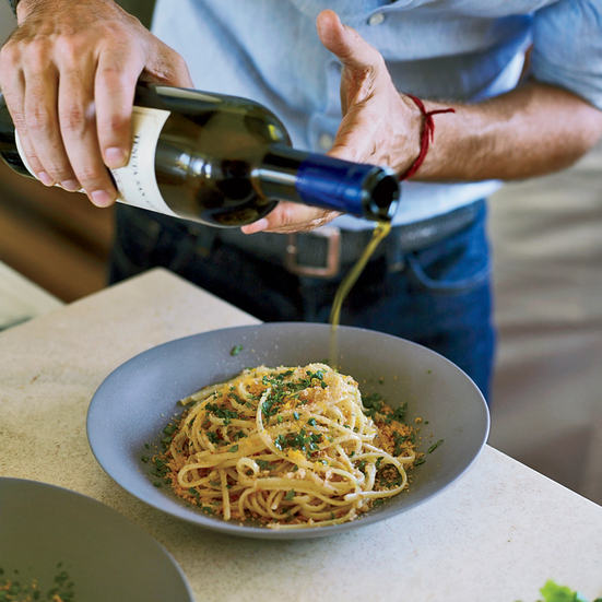 Spaghetti with Bottarga and Almond Bread Crumbs. Photo © Fredrika Stjärne