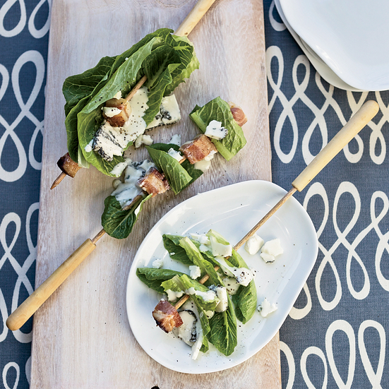 Bacon-and-Romaine Skewers with Blue Cheese Dressing. © Jody Horton