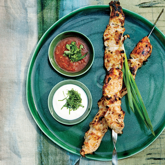 Tomato-and-Cilantro-Marinated Chicken Shashlik