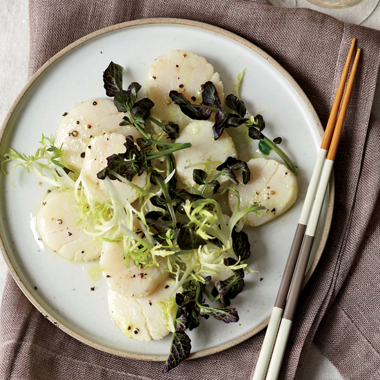 Dashi-Poached Scallop Salad with Wasabi Dressing. Photo © David Malosh