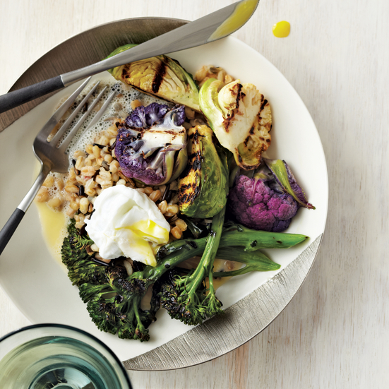 Grilled Brassicas with Mixed Grains and Bonito Broth