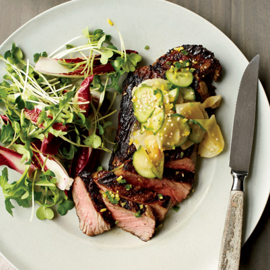 Grilled Steak with Cucumber and Daikon Salad. Photo © David Malosh