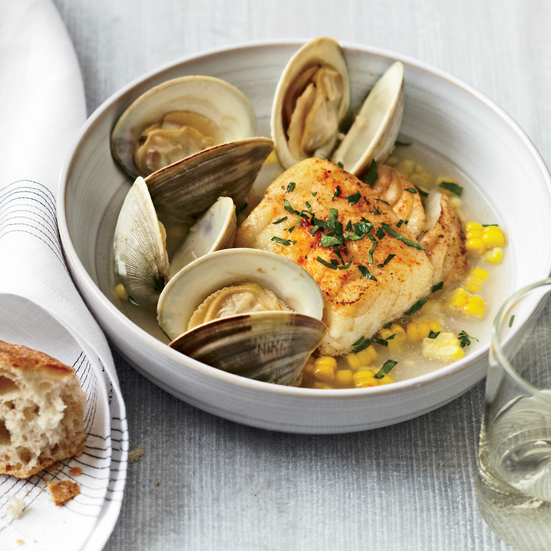 Ten Minute Salt Cod with Corn and Littleneck Clams. Photo © Anna Williams
