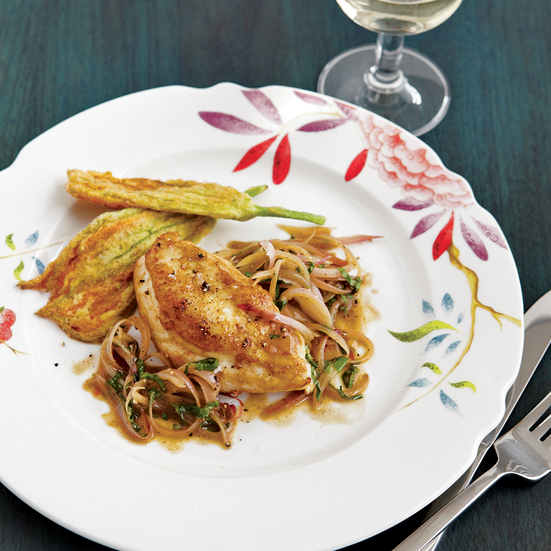 Chicken Breasts with Anchovy-Basil Pan Sauce. Photo © Raymond Hom