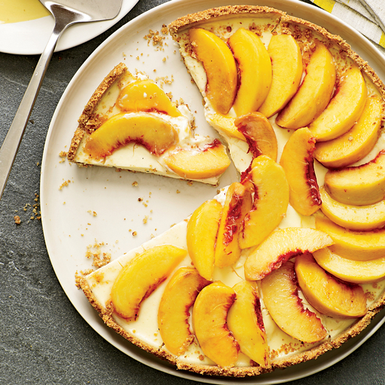 Creamy Peach Tart with Smoky Almond Crust. Photo © Tina Rupp