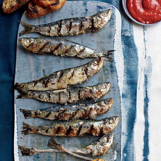 Grilled Sardines with Piquillo Pepper Sauce. Photo © Con Poulos