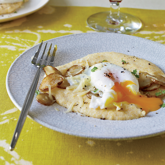 Poached Eggs with Sunchokes and Comté Polenta