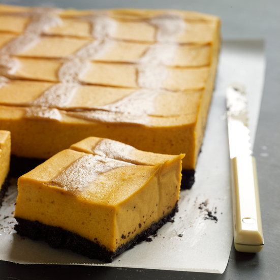 Pumpkin Cheesecake Bars with Caramel Swirl