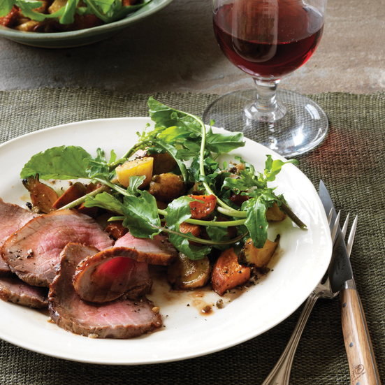 Roast Beef with Root-Vegetable-and-Green-Peppercorn Salad. Photo © Johnny Valiant
