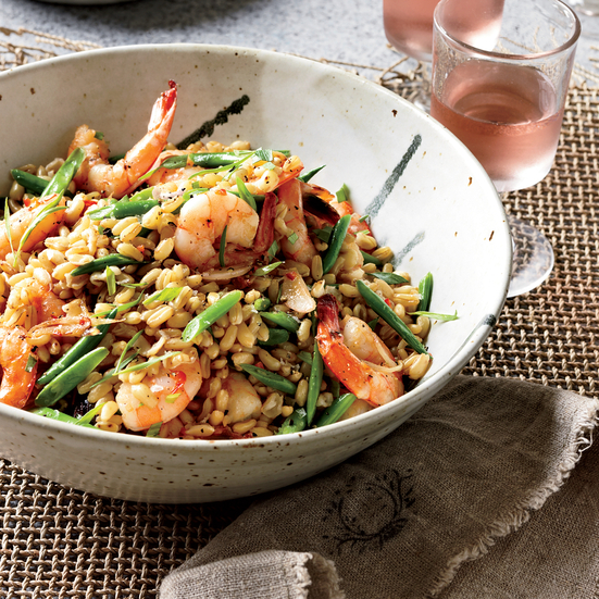 Warm Shrimp Salad with Kamut, Red Chile and Tarragon