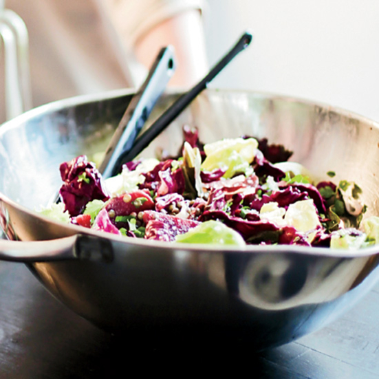 Beet and Red Cabbage Salad with Lentils and Blue Cheese