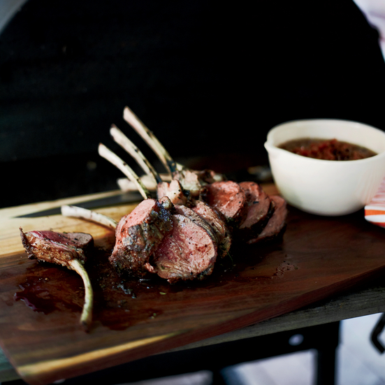 Slow-Grilled Rack of Lamb with Mustard and Herbs