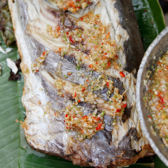Fish Grilled in Banana Leaves with Chile-Lime Sauce