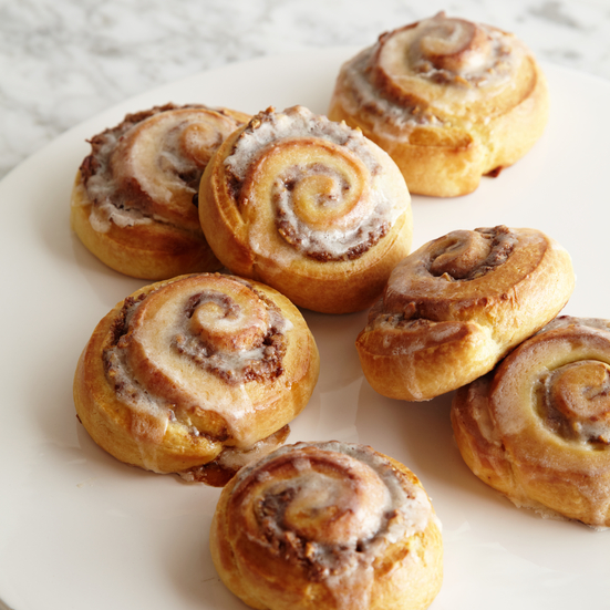 Glazed Cinnamon Rolls with Pecan Swirls