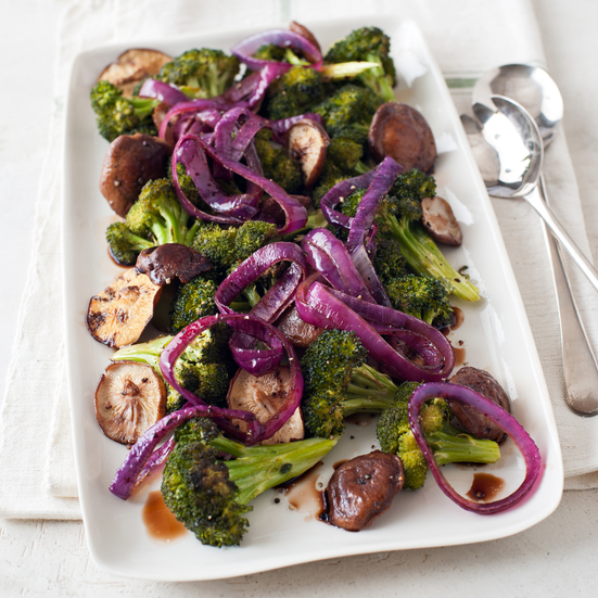 Broccoli, Shiitake and Red Onion Roast