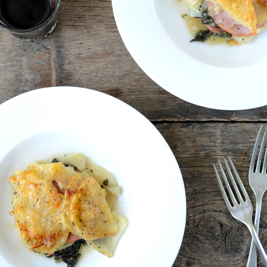 canadian-bacon-potato-and-swiss-chard-gratin