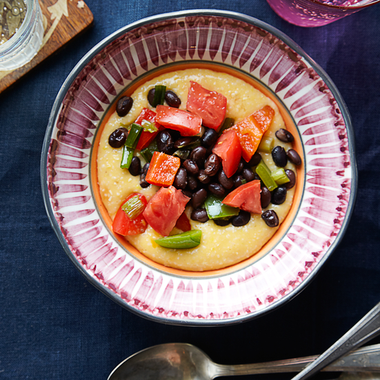 Cheddar-Cheese Grits with Spicy Black Beans