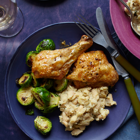 Chicken and Brussels Sprouts over White-Bean and Rosemary Puree