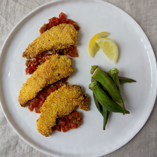 Chicken Fingers with Tomato-Jalapeño Sauce
