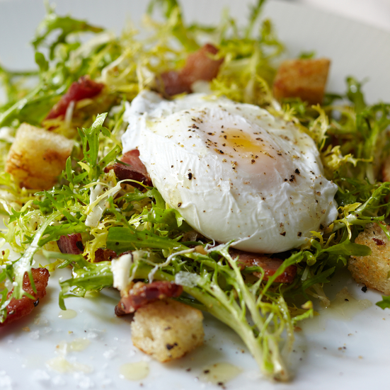 Curly-Endive Salad with Bacon and Poached Eggs