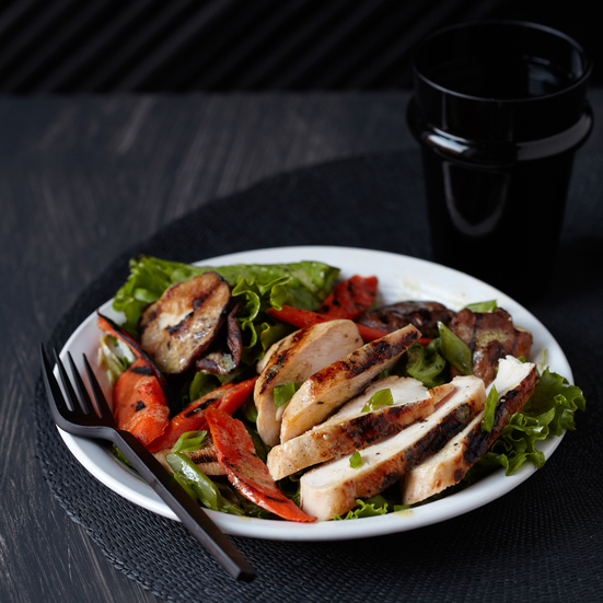 Grilled Chicken and Vegetable Salad with Lemon and Pepper Vinaigrette