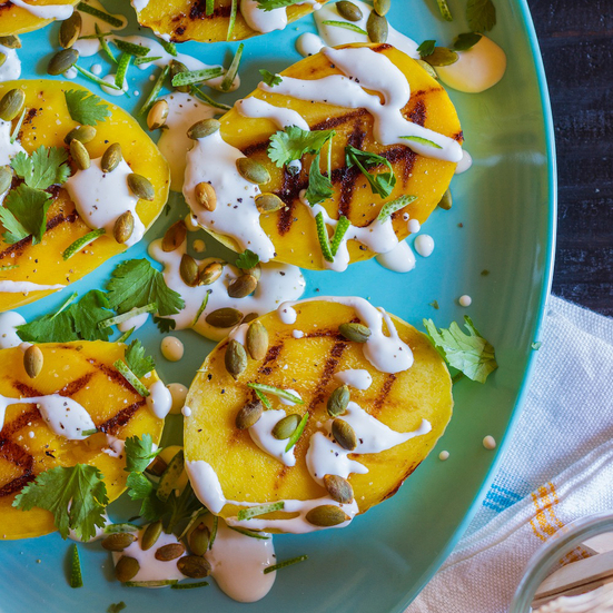 Grilled Mango with Crema, Cilantro and Pumpkin Seeds