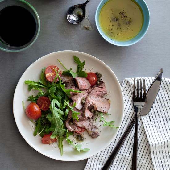 Grilled-Steak and Arugula Salad with Mustard Caper Vinaigrette