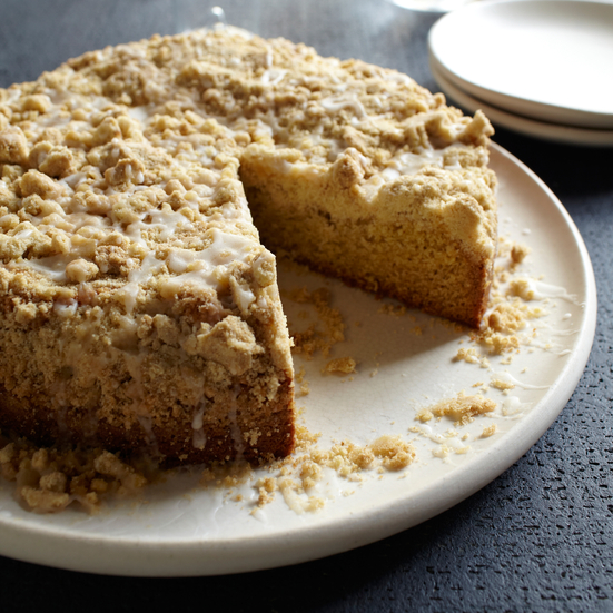 Mace-Spiced Crumb Cake with Bourbon Glaze