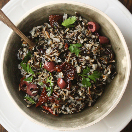 Mediterranean Wild Rice with Olives and Tomatoes