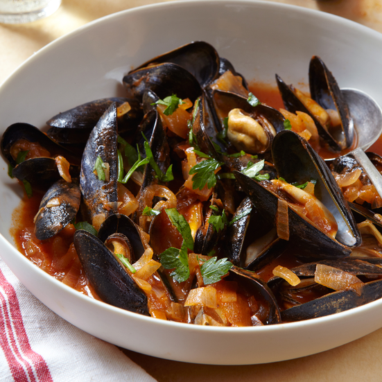 Mussels Steamed in Tomato Broth with Goat Cheese