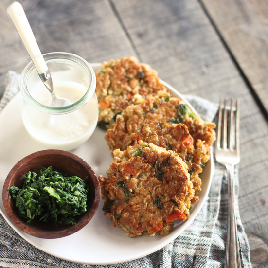 Oat Cakes and Spinach with Horseradish Sauce